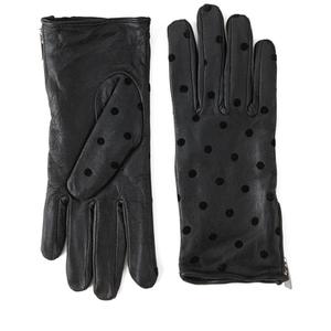 Maison Scotch Women's Dots Leather Gloves - Black