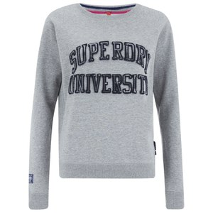 Superdry Women's Core Appliqué University Crew Neck Sweatshirt - Grey Marl
