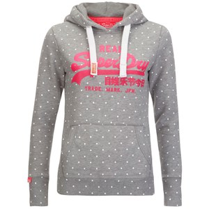 Superdry Women's Vintage Logo Aop Entry Hoody - Grey Marl