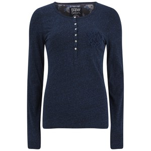 Superdry Women's Super Sewn Lace Pocket Henley Long Sleeve Top - Rugged Navy