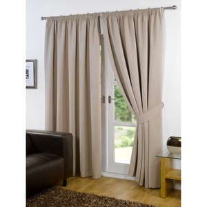 Dreamscene Blackout Pencil Pleat Curtains - Beige