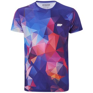 Myprotein Men's Geometric Printed Training Shirt, Dark Blue