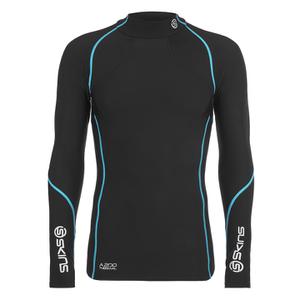 Skins A200 Mens Thermal Long Sleeve Compression Mock Neck Top - Black/Neon Blue
