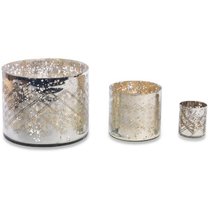 Nkuku Etched Glass Tea Light Holder (14 x 15cm): Image 1