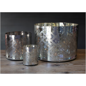 Nkuku Etched Glass Tea Light Holder (14 x 15cm): Image 2