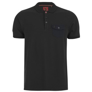 Luke 1977 Men's Nelly The Loon Striped Back Polo Shirt - Black