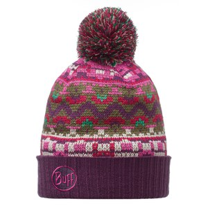 Buff Knitted Idris Hat - Plum