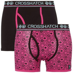 Crosshatch Men's Hexon 2 Pack Boxers - Bright Magenta