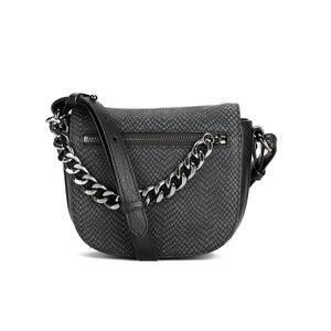 French Connection Women's Croc Embossed Leather Cross Body Bag - Black Croc