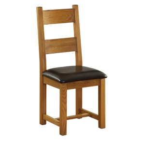 Vancouver Oak NB003 Dining Chair with Leather Seat - Chocolate