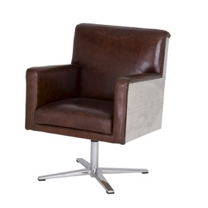 Vintage Aviator Swivel Leather Aluminimum Chair with Wooden Frame