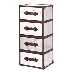 4 Drawer Tower Leather and Aluminium Trunk