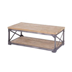Pine Wood Top Coffee Table with Iron Base