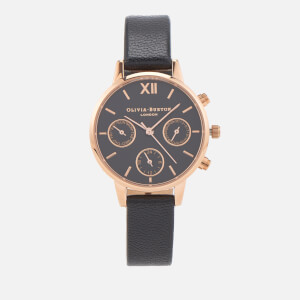 Olivia Burton Women's Midi Chrono Detail Watch - Black/Rose Gold