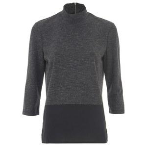 ONLY Women's 3/4 High Neck Zip Top - Dark Grey Melange