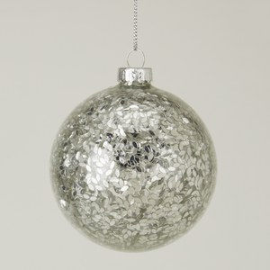 Gisela Graham Glass Ball with Silver Confetti Filling - Clear