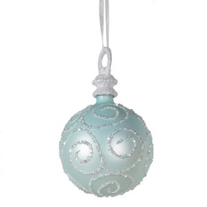 Bark & Blossom Glacial Bauble with Glitter Swirls