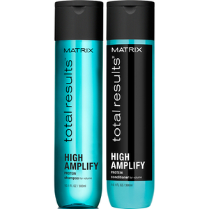 Champú(300 ml), Acondicionador (300 ml) y Elevador de raíces (250 ml) Matrix Total Results High Amplify