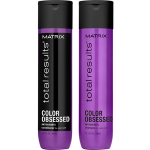 Champú (300 ml), Acondicionador (300 ml) y Loción en espray Miracle Treat 12 (150 ml) de Matrix Total Results Color Obsessed