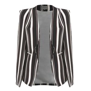 Lavish Alice Women's Stripe Collarless Cape Blazer - Black/Cream/Burgundy