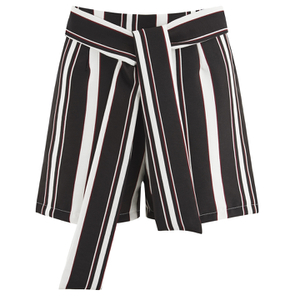 Lavish Alice Women's Stripe Tie Side Shorts - Black/Cream/Burgundy
