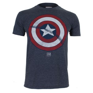 Marvel Men's Captain America Shield T-Shirt - Heat: Image 1
