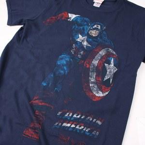 Marvel Men's Captain America T-Shirt - Navy: Image 2