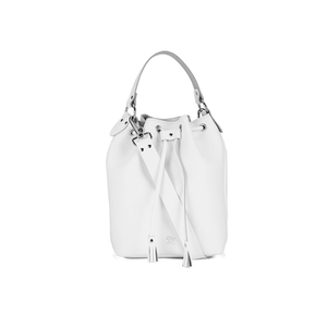 Grafea Women's Leather Tassel Bucket Bag - White
