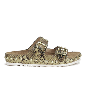 Ash Women's Utopia Studded Snake Print Double Strap Sandals - Desert/Wilde