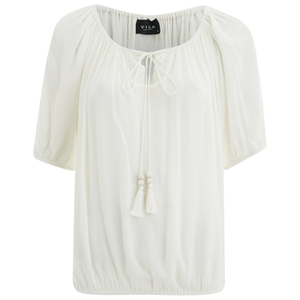 VILA Women's Licia Short Sleeve Blouse with Tie Detail - Snow White