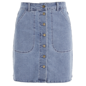 VILA Women's Lagos Denim Skirt - Light Blue Denim