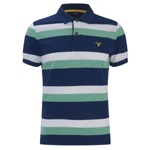 GANT Men's Striped Pique Rugger Polo Shirt - Jelly Green