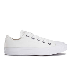 Converse Unisex Chuck Taylor All Star OX Canvas Trainers - White Monochrome/Silver