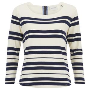 Maison Scotch Women's Breton Stripe 3/4 Sleeve T-Shirt with Zipper at Back - Multi