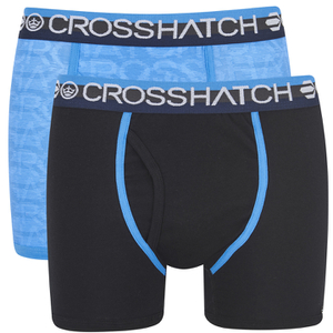 Crosshatch Men's Lightspeed 2-Pack Boxers - Neon Blue/Black