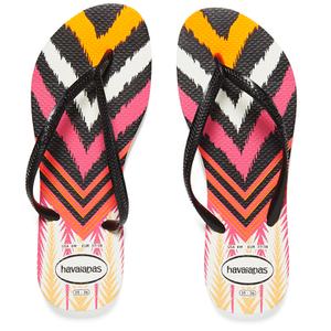 Havaianas Women's Slim Tribal Flip Flops - White/Black