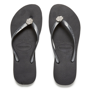 Havaianas Women's Slim Crystal Poem Flip Flops - Black/Graphite