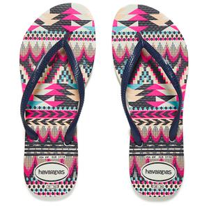 Havaianas Women's Slim Tribal Flip Flops - White/Navy Blue