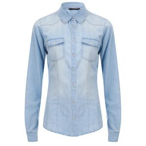 ONLY Women's Always Rock It Fit Jean Shirt - Light Blue Denim
