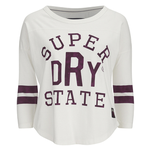 Superdry Women's Varsity College Baseball Top - Vintage White