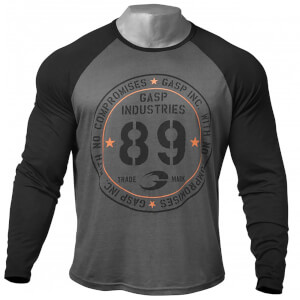 GASP Raglan Long Sleeve T-Shirt - Dark Grey