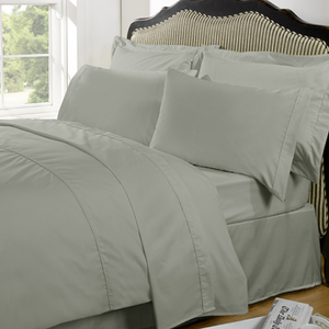 Highams 100% Egyptian Cotton Plain Dyed Bedding Set - Silver Grey