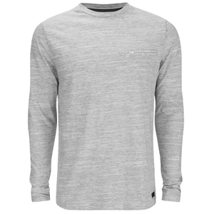 Brave Soul Men's Dalius Zip Pocket Long Sleeved Top - Light Grey Marl