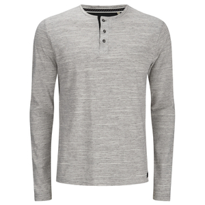 Brave Soul Men's Jeffrey Button Long Sleeved Top - Light Grey