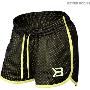 Better Bodies Women's Race Mesh Shorts - Black/Lime