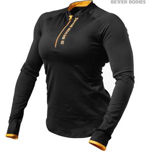 Better Bodies Women's Zipped Long Sleeve Top - Black/Orange