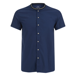 Scotch & Soda Men's Rib Collar Short Sleeve Shirt - Night