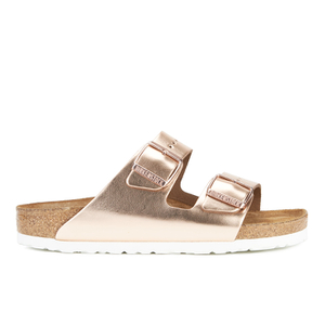 Birkenstock Women's Arizona Slim Fit Leather Double Strap Sandals - Metallic Copper