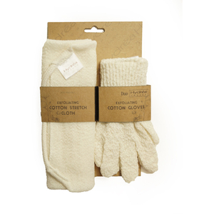 Hydrea London Exfoliating Stretch Cloth & Gloves Duo Set -kuoriva pesulappu ja pesusormikkaat