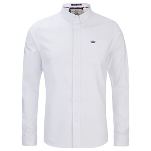 Brave Soul Men's Pompeii Long Sleeve Shirt - White